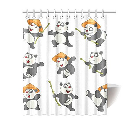 MKHERT Cute Panda Shower Curtain Bath Waterproof Fabric Polyester Curtains 60x72 Inch