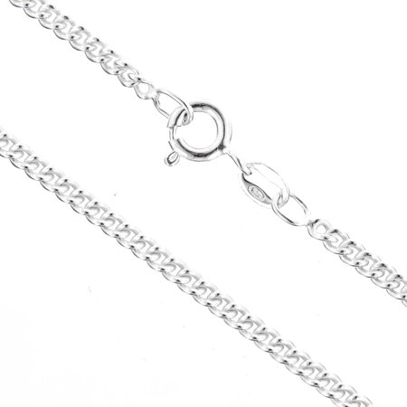 925 Sterling Silver 1.4mm Curb Chain Necklace With Free Anti-Tarnish Storage (Best Way To Store Sterling Silver Jewelry)