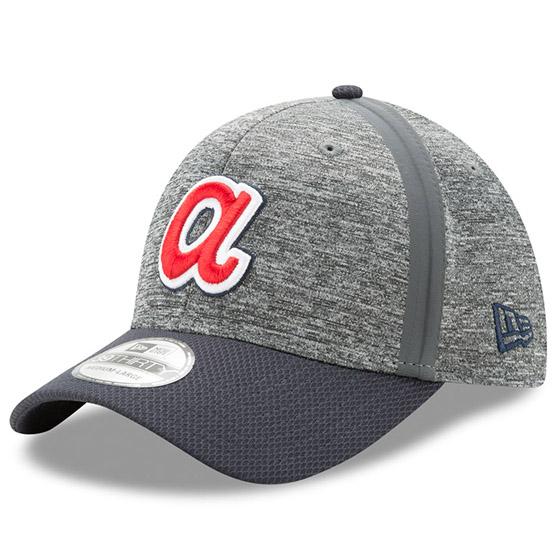 Atlanta Braves New Era Clubhouse 39THIRTY Flex Hat - Heathered Gray/Navy
