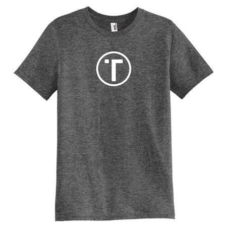 Hill Tribe Silver Circle - Tribe Triblend Crewneck T-Shirt - Dark Heather Gray Circle Logo - 2XL