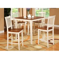 East West Furniture VERN3-WHI-W 3-Piece Vernon Pub, Counter Height Square Table & 2 Wood Seat Chairs in Buttermilk & Cherry Finish.