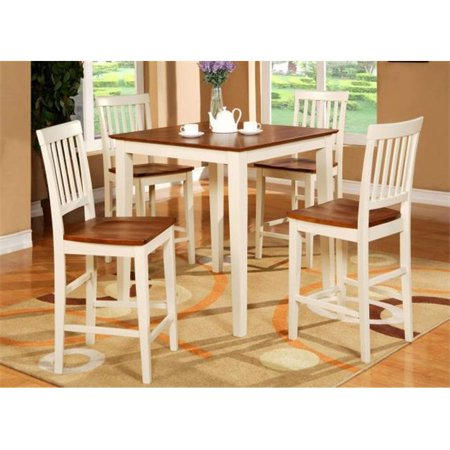 3-Piece Vernon Pub, Counter Height Square Table & 2 Wood Seat Chairs in Buttermilk & Cherry