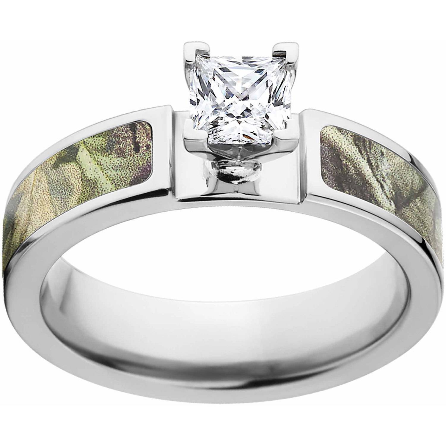 Realtree AP Green Women's Camo 1 Carat T.G.W. Princess CZ in 14kt Whit Gold Prong Setting Cobalt Engagement Ring with Polished Edges and Deluxe Comfort Fit