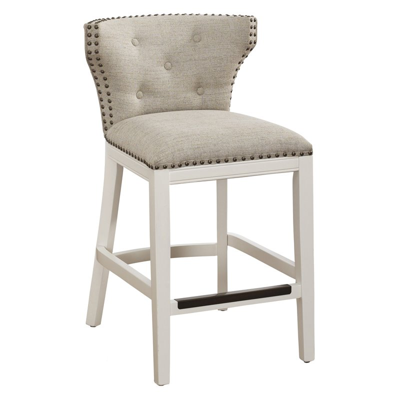 Comfort Pointe Carena White And Beige Counter Stool