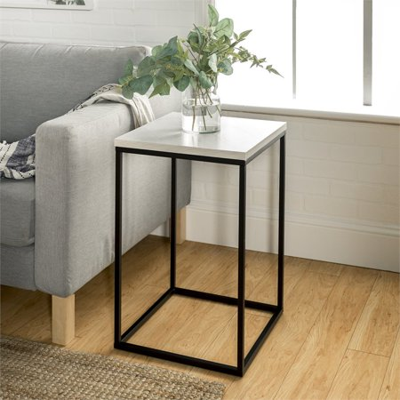 Pastel Table Base - 16 inch Open Box Side Table with White Faux Marble top and black metal base