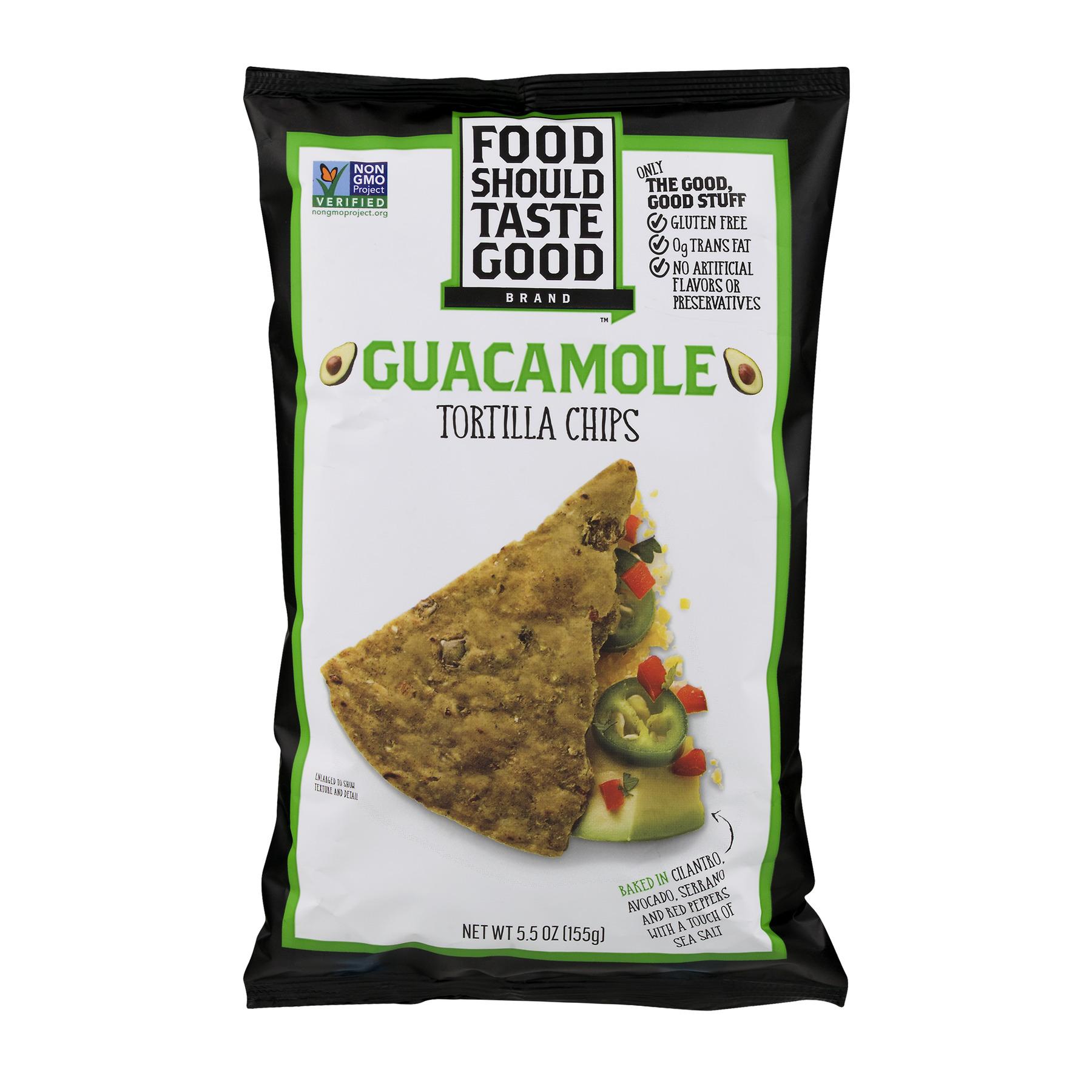 Food Should Taste Good ® Tortilla Chips Gluten Free non - GMO Guacamole 5.5 oz Bag