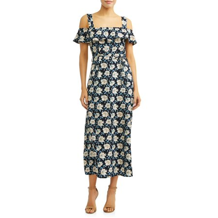 Printed Cross Front Dress - Women's Front Slit Maxi Dress
