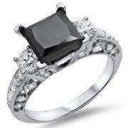 Noori 18k White Gold 2 1/8ct TDW Black Princess-cut Diamond Ring Size-8