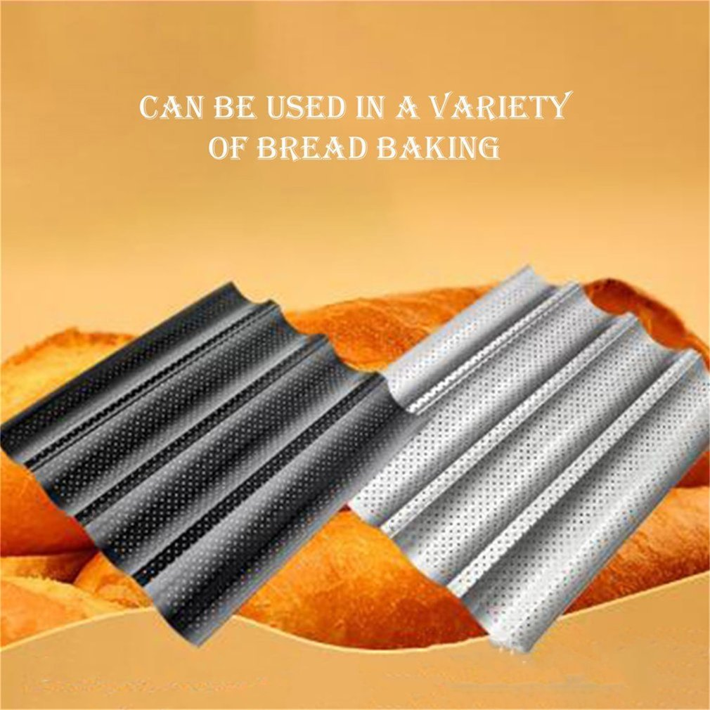 Non-stick French Bread Pans Loaf Baking Pan With Four Slots Wave Baguette Mold Baking Tray