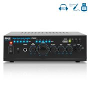 PYLE PTAU45 - Stereo Power Amplifier - Compact Audio Amp with Microphone Input, MP3/USB Reader (2 x 120 Watt)