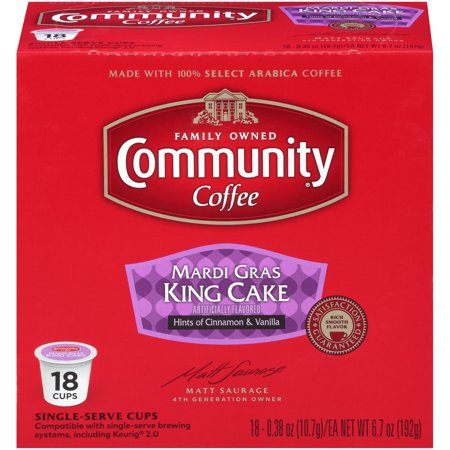Community® Coffee Mardi Gras King Cake Coffee Single-Serve Cups 18 ct Box Compatible with Keurig 2.0 K-Cup Brewers - Marsi Gras
