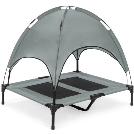 Best Choice Products Outdoor Raised Mesh Cot Cooling Dog Pet Bed for Camping, Beach, 36in, Gray, with Removable Canopy, Travel