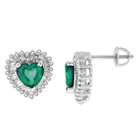 2.05 ct.t.w.Genuine Emerald and Baguette Diamond Heart Earrings 14Kt White Gold