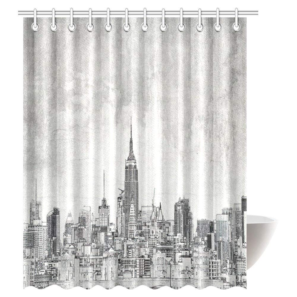 GCKG American Shower Curtain Cosmopolitan New York City Skyline With Iconic Skyscrapers And High Buildings Print Fabric Bathroom