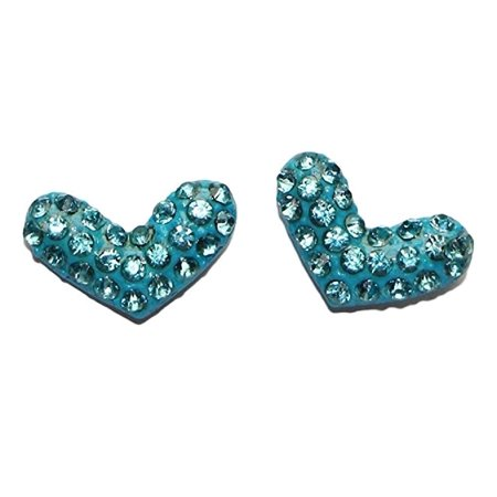 Buyless Fashion Hypoallergenic Surgical Steel CZ Heart Colored Studded Earring- Aqua - Aqua Glass Beaded Earrings