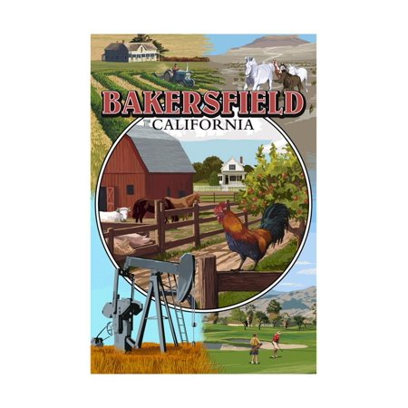 Bakersfield, California - Montage Print Wall Art By Lantern - Party City Bakersfield California