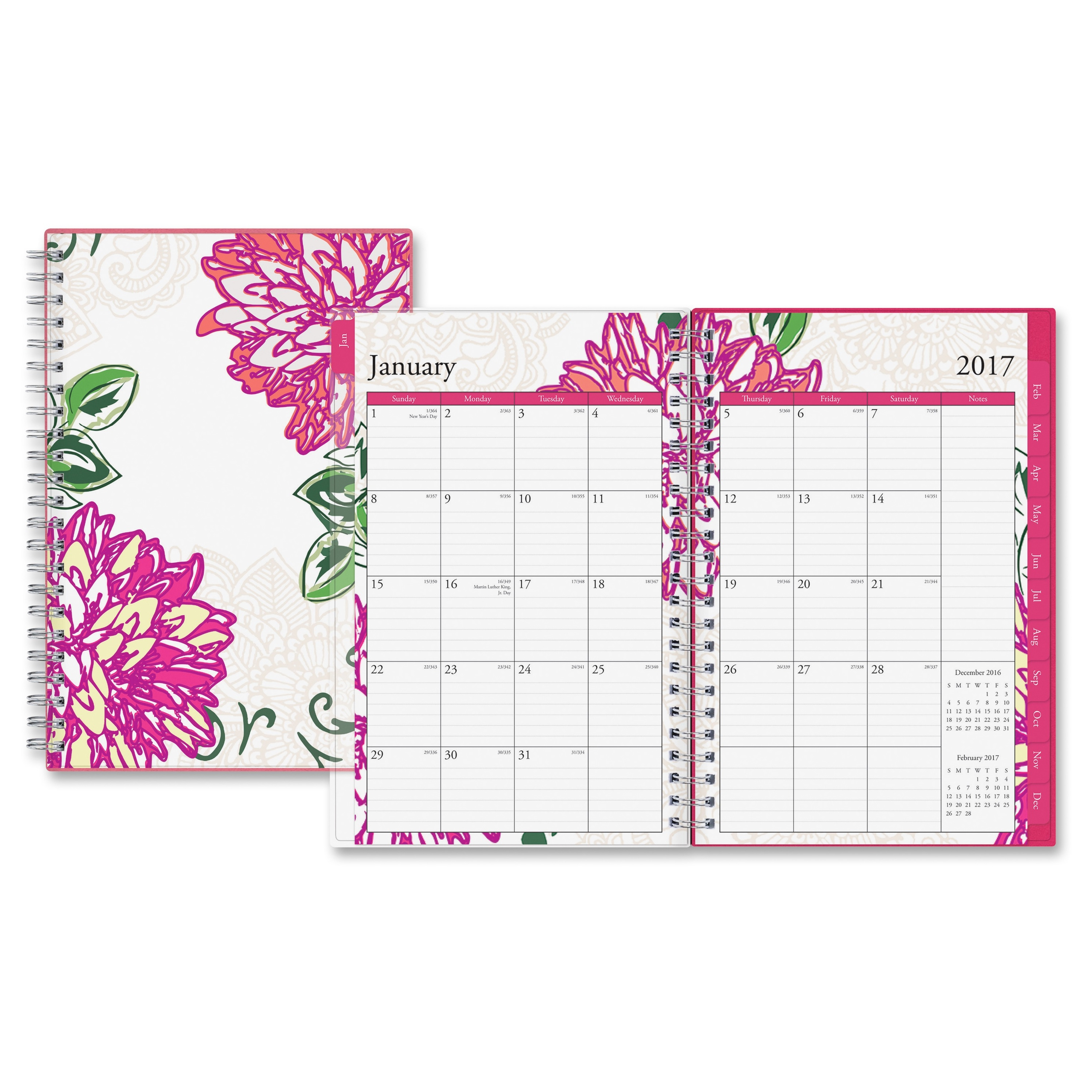 Blue Sky Dahlia Small Frosted Planner - Small Size - Weekly, Monthly, Daily - 1 Year - January Till December - 2 Month, 2 Week Double Page Layout - Twin Wire - Frosted, Multicolor - (bls-18701)