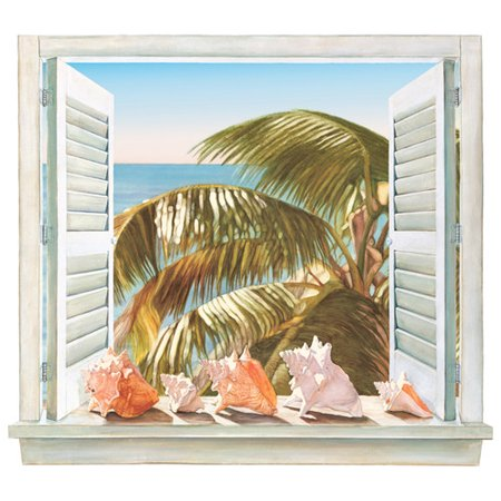 Two Murals (York Wallcoverings Mural Portfolio II Trompe L Oiel Palm Tree and Shell Window Accent Wall)