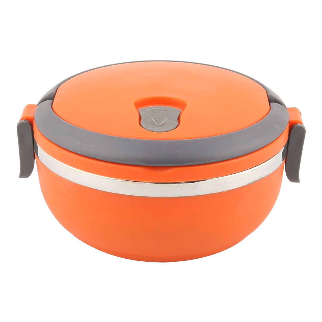 Unique Bargains Home School Office Orange Gray Plastic Handle Stainless Steel Lunch Box Food Container