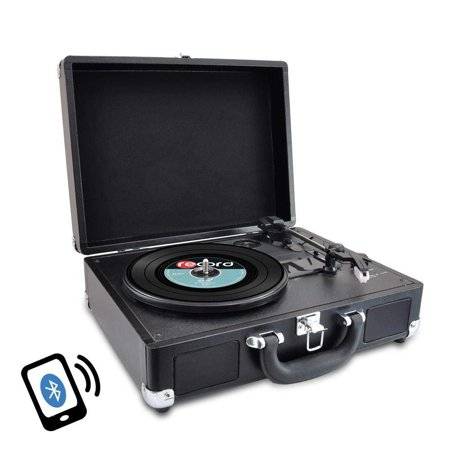 Upgraded Version Pyle Vintage Record Player, Classic Vinyl Player, Turntable, Rechargeable Batteries, Bluetooth Enabled Devices, MP3 Vinyl, Music Editing Software Included, Works w/ Mac & PC, 3