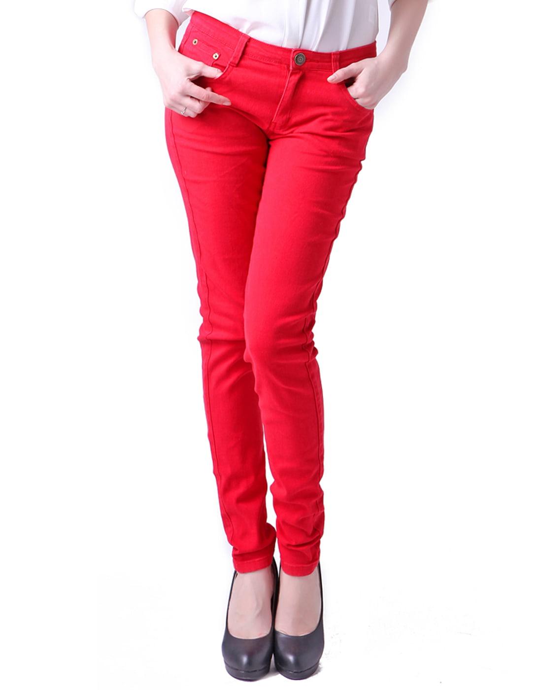 HDE Women's Jeans Jeggings Five Pocket Stretch Denim Pants (Red, X-Large)