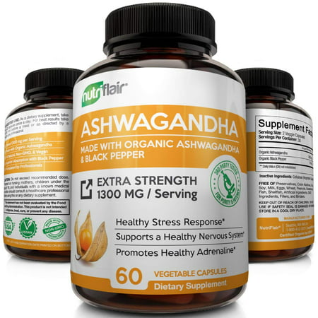 NutriFlair Organic Ashwagandha Capsules 1300mg - 60 Vegetarian Capsules with Black Pepper Extract - Stress Relief, Anxiety & Mood Enhancer, Thyroid & Adrenal Support - Best Root Powder