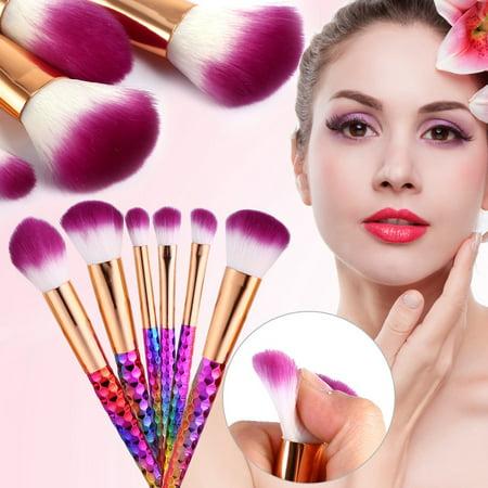 6PCS Colorful Makeup Brush Set Kit Foundation Contour Concealer Blusher Powder Cosmetic Tool, Cosmetic Brush, Foundation