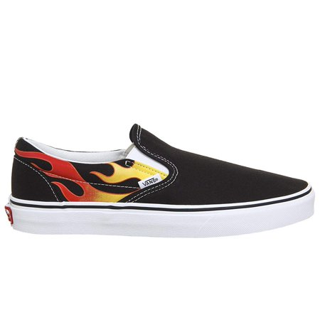 Vans Classic Slip On Flame Black/True White Men's Skate Shoes Size 11 - Vans Shoe Size Chart