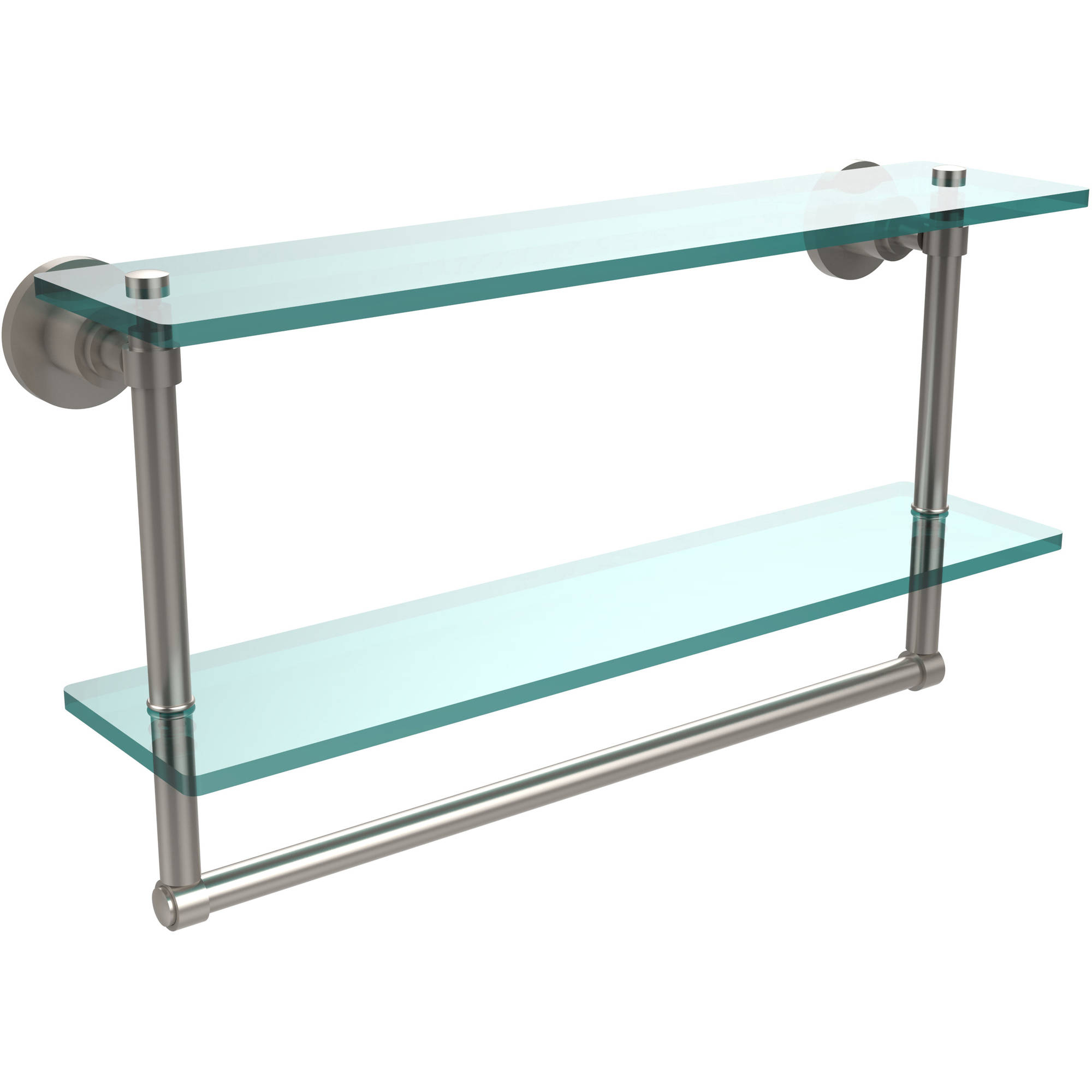 """Washing Square Collection 22"""" 2-Tiered Glass Shelf with Integrated Towel Bar (Build to Order)"""