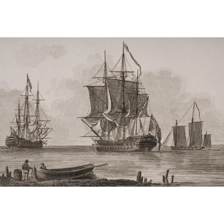 X Rated Halloween Pics (British Men Of War From Left First Rate Man Of Wars Barge Seventy Four Lugger From A Print Dated 1820 Engraved By Milton Stretched Canvas - Ken Welsh  Design)