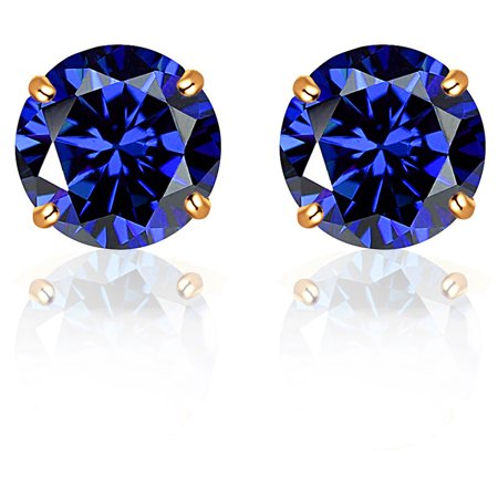 Orchid Jewelry 14k Solid Yellow Gold Round-Cut 4 mm Sapphire CZ Stud Earrings 14k Yellow Gold Mosaic