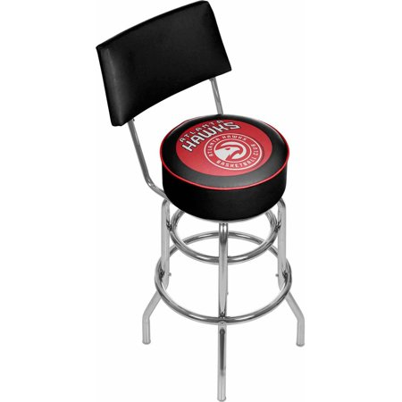 "Trademark NBA Atlanta Hawks 40"" Padded Swivel Bar Stool with Back, Chrome by"
