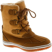 Nature Breeze Women's FROST-04 Lace Up Ankle Mid Calf Artic Warm Fur Lined Water Resistant Eskimo Snow Boots