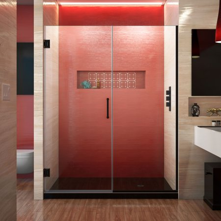 DreamLine Unidoor Plus 57 1/2 - 58 in. W x 72 in. H Frameless Hinged Shower Door in Satin Black ()