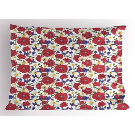 Floral Pillow Sham Blooming Red Poppies Chamomile Ladybird and Daisies Bumblebee Bees and Butterflies, Decorative Standard Size Printed Pillowcase, 26 X 20 Inches, Multicolor, by Ambesonne