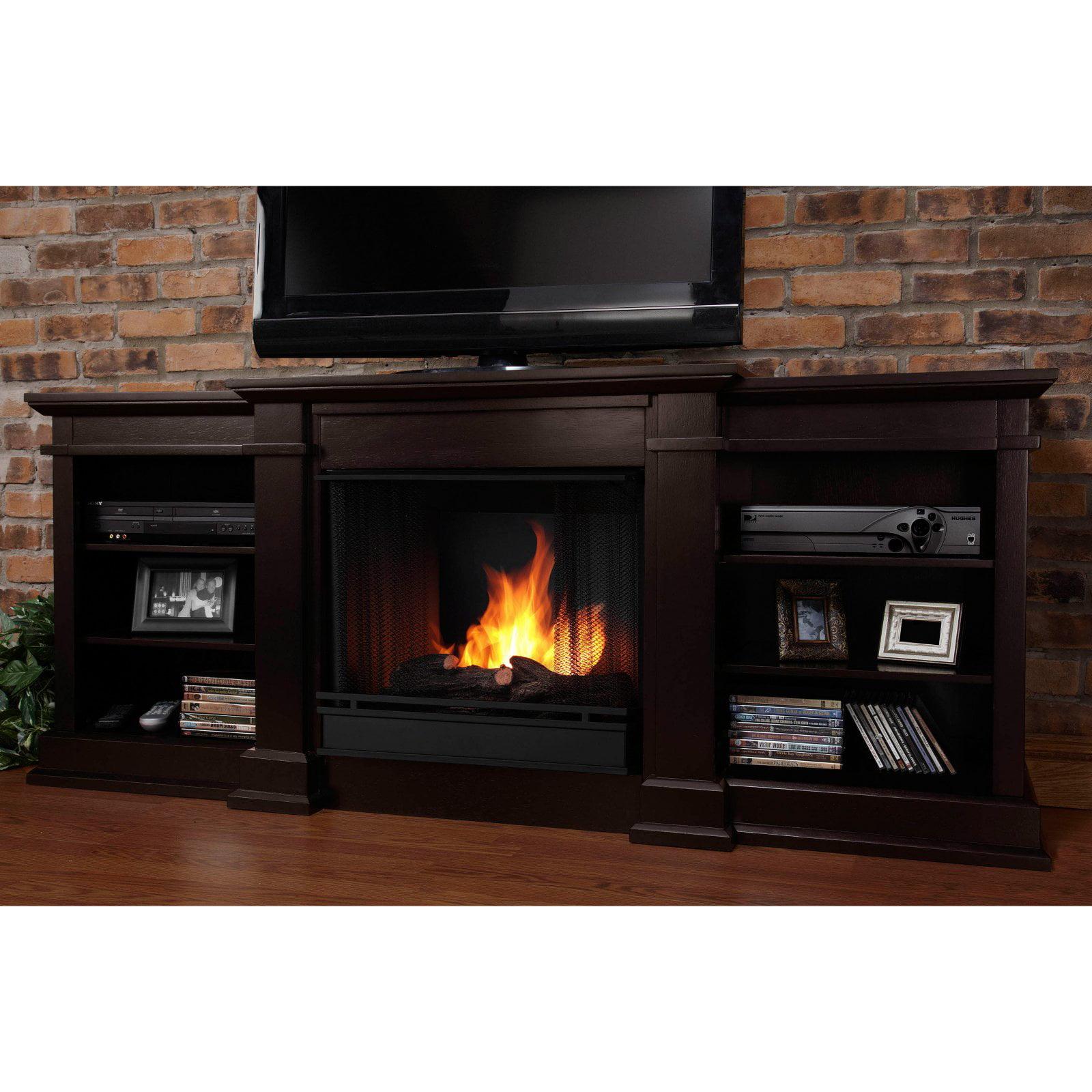 Real Flame Fresno Ventless Gel Fireplace - Dark Walnut