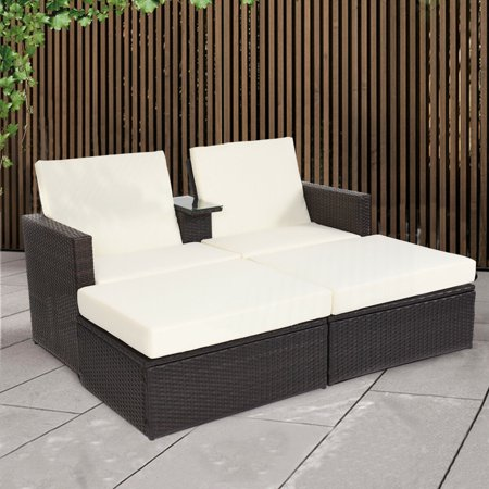 Double Lying Bed Chaise Lounge Chair Set Garden Rattan Wicker Outdoor Love Seat - image 1 of 7