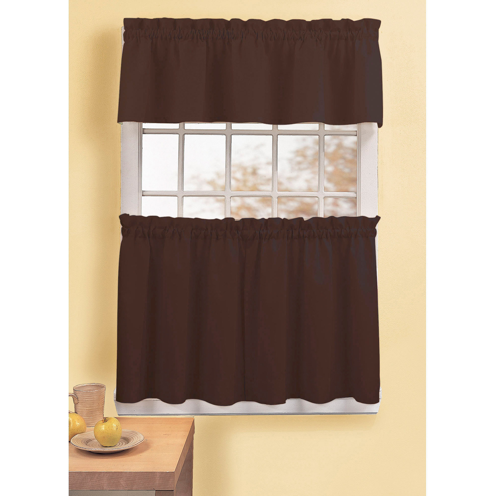 CHF & You Peachskin Tailored Tier Curtain Panel, Set of 2 or Single Valance