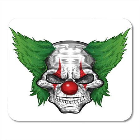 SIDONKU Evil Black Scary Clown Skull White Joker Zombie Face Mousepad Mouse Pad Mouse Mat 9x10 inch