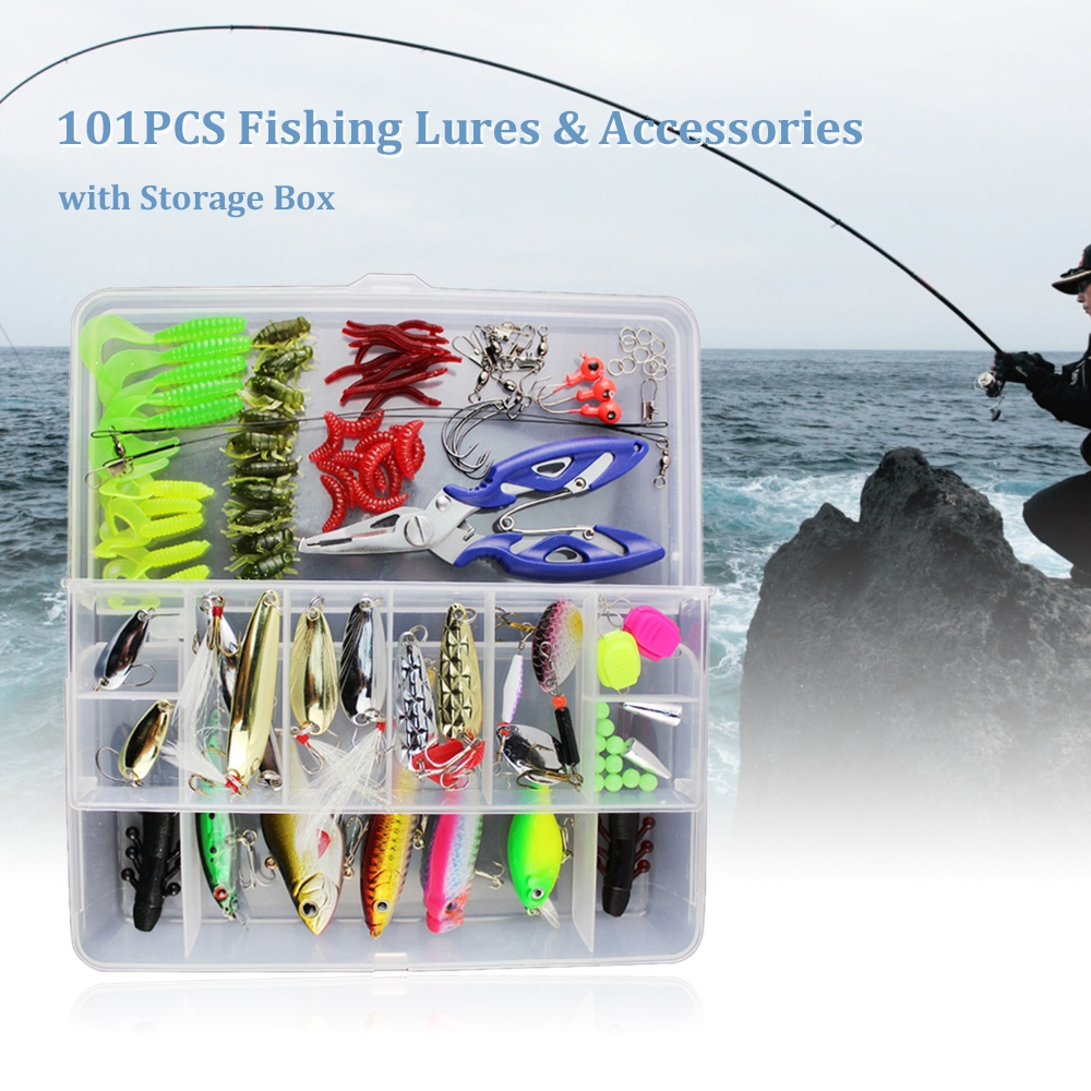 101PCS Floating Fishing Lures Fishing Accessories Kit Set with Storage Box by