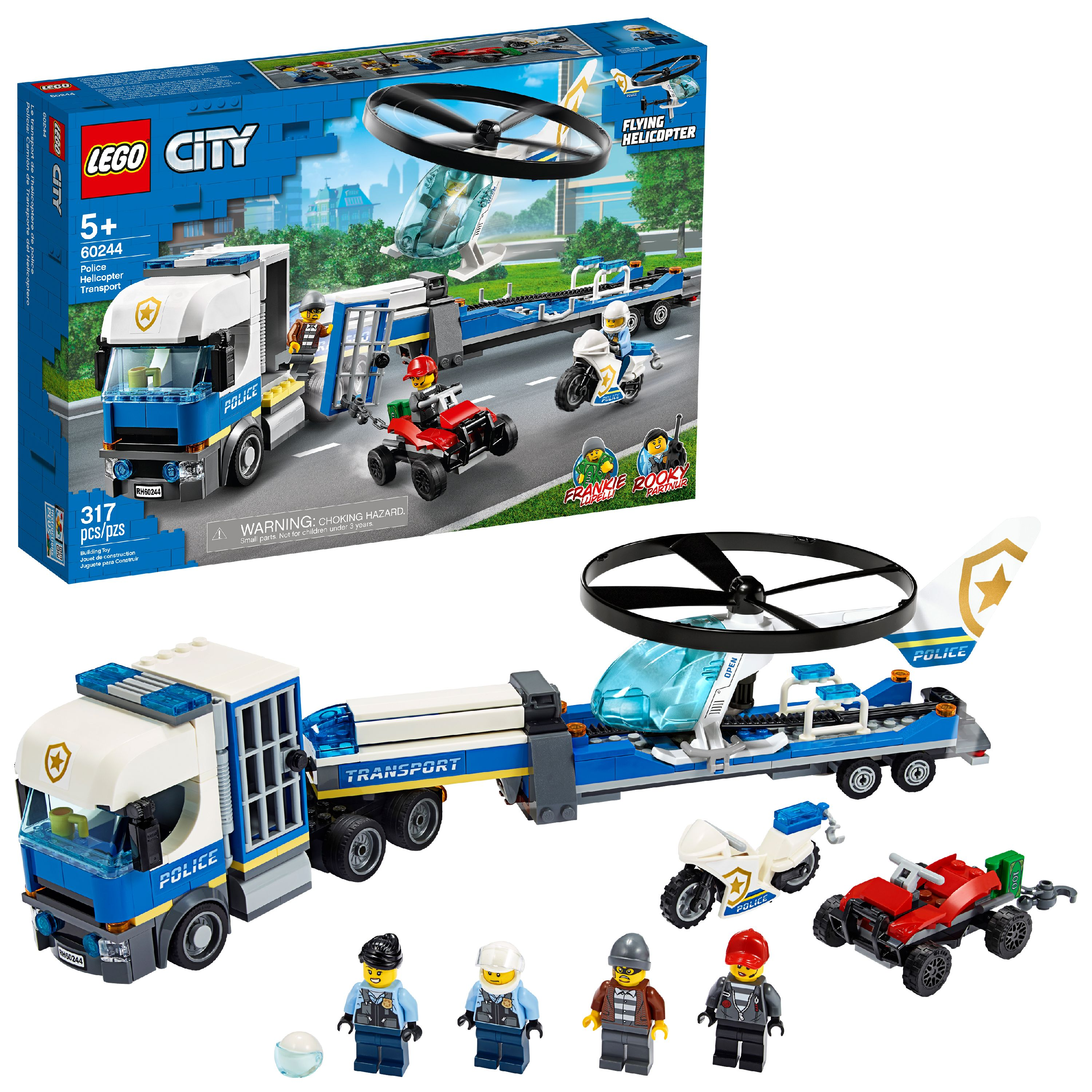LEGO City Police Helicopter Transport 60244 Building Set for Kids (317 Pieces)