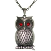 Carolina Glamour Collection Pewter Barn Owl with Red Crystal Eyes Pendant Chain Necklace
