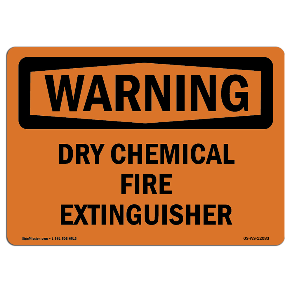 OSHA WARNING Sign - Dry Chemical Fire Extinguisher  | Choose from: Aluminum, Rigid Plastic or Vinyl Label Decal | Protect Your Business, Construction Site, Warehouse & Shop Area | Made in the USA