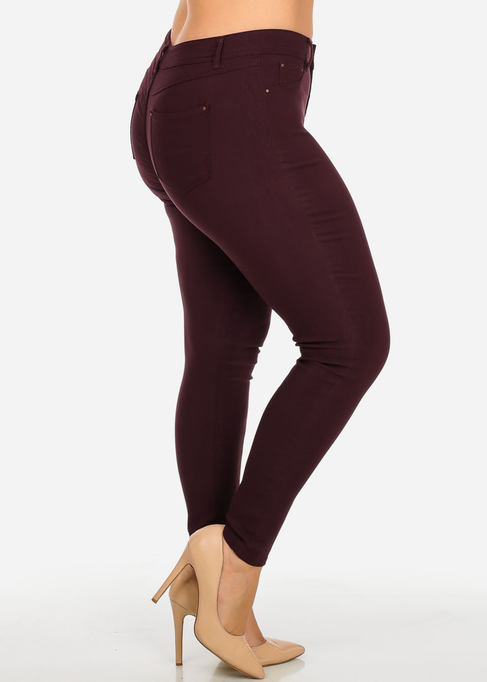 Womens Juniors Stylish Mid Waist Burgundy One Button Stretchy Skinny Pants 30806J
