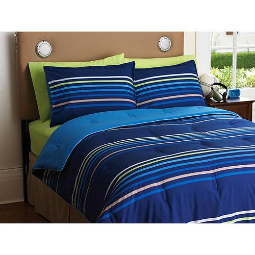 Your Zone Reversible Comforter and Sham Set, Blue Stripe/Cobalt