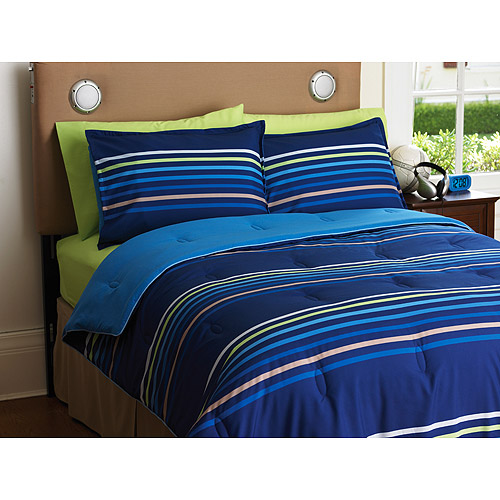 Your Zone Reversible Comforter and Sham Set, Blue Stripe/Cobalt