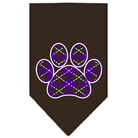 Argyle Paw Purple Screen Print Bandana Cocoa Small