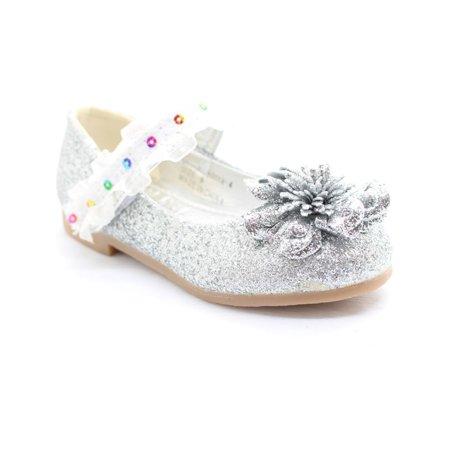 Little Girls Silver Glitter Lace Sequin Trim Flower Dress Shoes - Glitter Shoes Girls