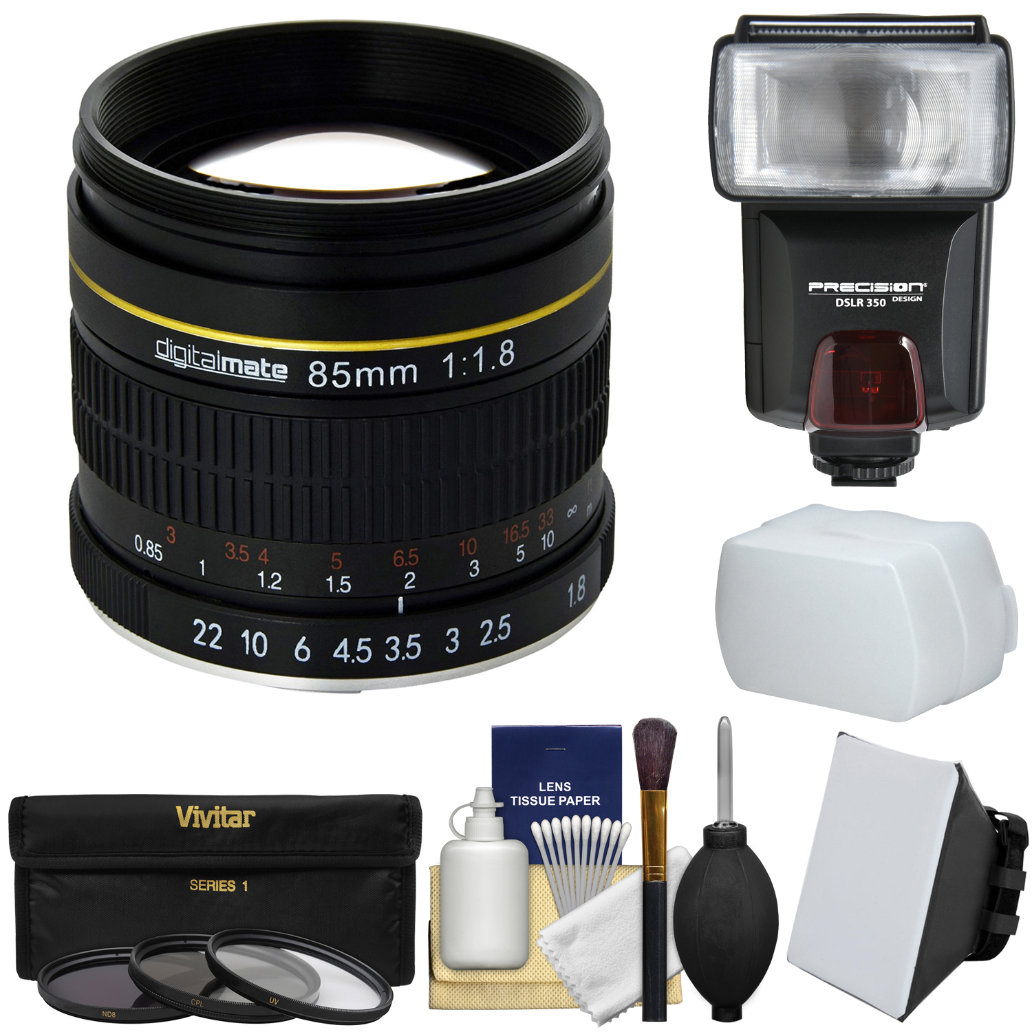 Digitalmate 85mm f/1.8 Aspherical Telephoto Lens with 3 UV/CPL/ND8 Filters + Flash + Diffusers + Kit for Canon EOS DSLR Cameras