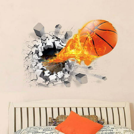Girls Room Wall Stickers (Sports Themed Wall Decals Decorative 3D Broken Wall Basketball Wall Stickers Mural Sticker Wall Art Decor for Kids Boys Girls Room Child Teen Bedroom Living Room Class Room College Dorm )